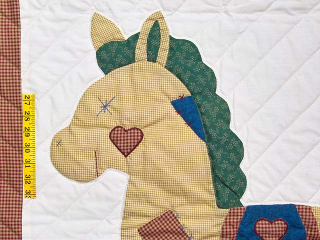 Red Plaid and Dark Blue Rocking Horse Crib Quilt Photo 3
