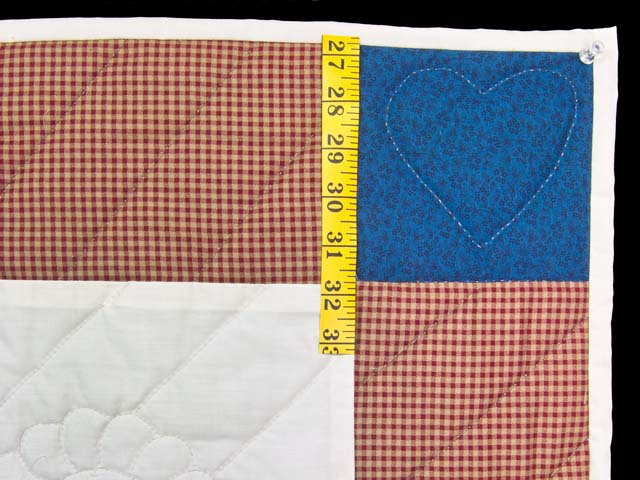 Red Plaid and Dark Blue Rocking Horse Crib Quilt Photo 5