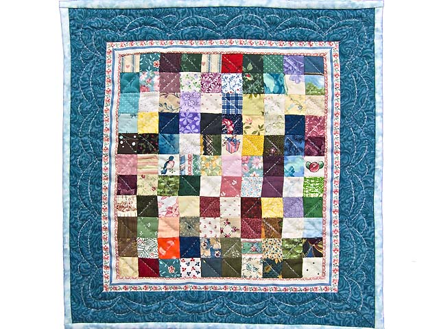 Miniature Multicolor Postage Stamp Quilt Photo 1