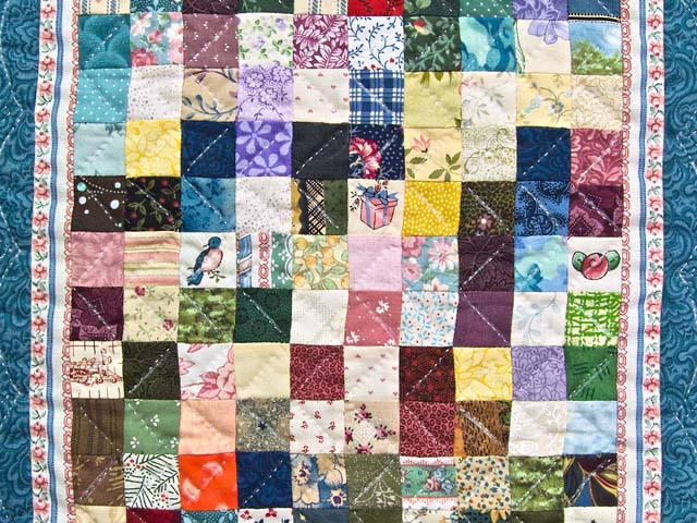 Miniature Multicolor Postage Stamp Quilt Photo 2