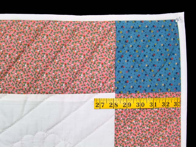 Pink and Blue Rocking Horse Crib Quilt Photo 5