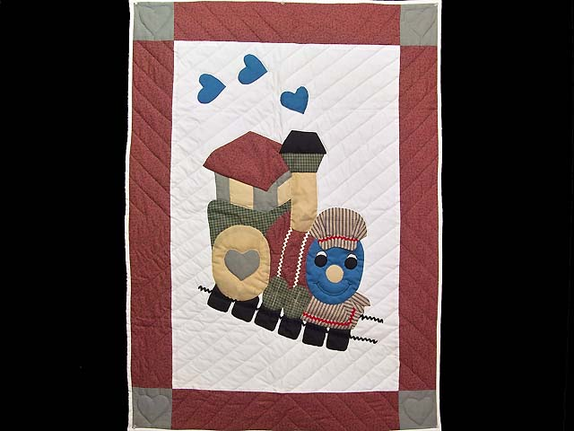 Red and Multicolor Thomas Train Crib Quilt Photo 1