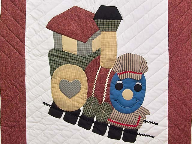 Red and Multicolor Thomas Train Crib Quilt Photo 2