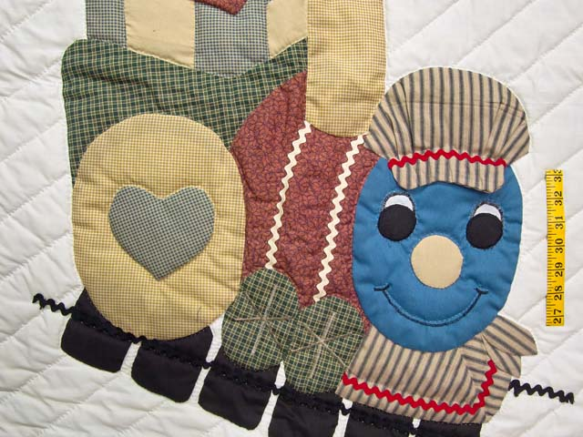 Red and Multicolor Thomas Train Crib Quilt Photo 3