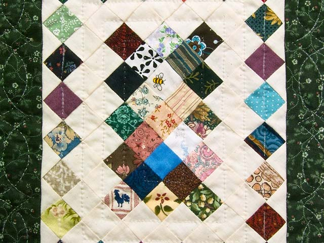 Miniature Diamond Postage Stamp Quilt Photo 2