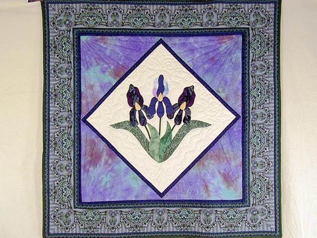 Lavender Iris Appliqued Wall Hanging Photo 1