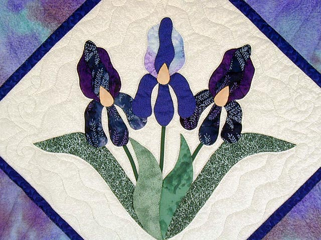 Lavender Iris Appliqued Wall Hanging Photo 2