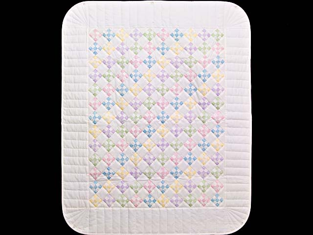Pastels and Cream Nine Patch Crib Quilt Photo 1