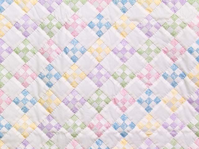 Pastels and Cream Nine Patch Crib Quilt Photo 2