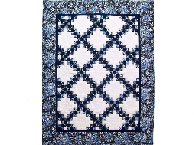 Navy Blue and Cream Irish Chain Crib Quilt Photo 1