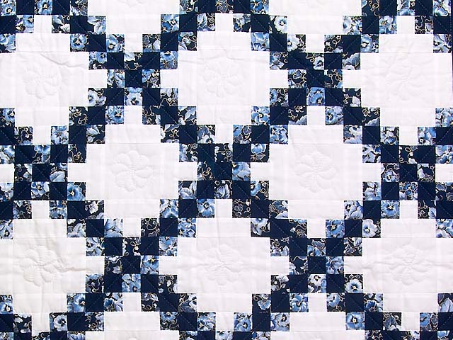 Navy Blue and Cream Irish Chain Crib Quilt Photo 2