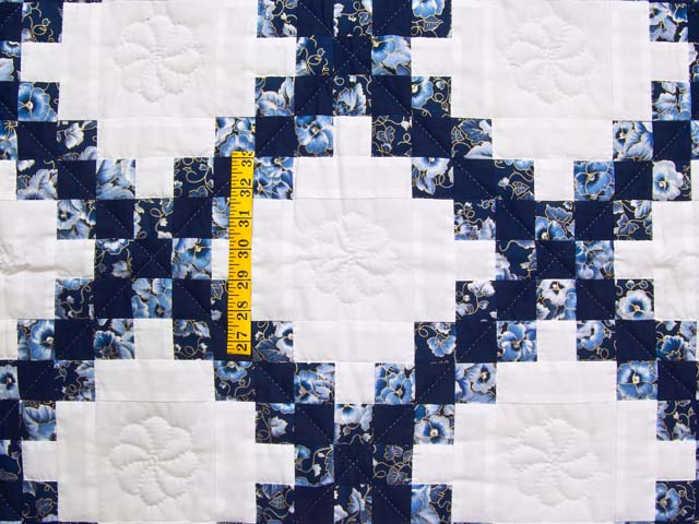 Navy Blue and Cream Irish Chain Crib Quilt Photo 3