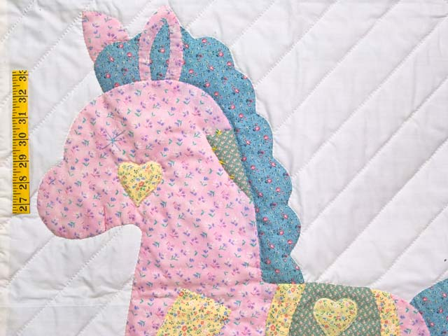 Pastel Yellow and Green Rocking Horse Crib Quilt Photo 3