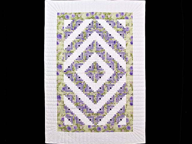 Lavender and Willow Green Log Cabin Crib Quilt Photo 1