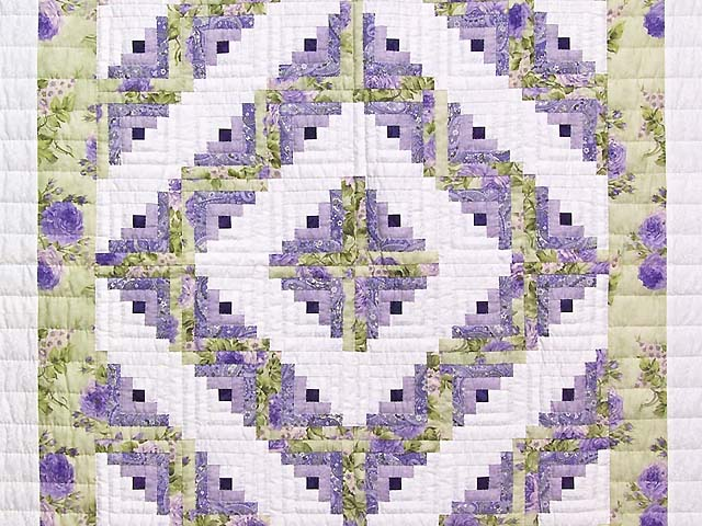 Lavender and Willow Green Log Cabin Crib Quilt Photo 2