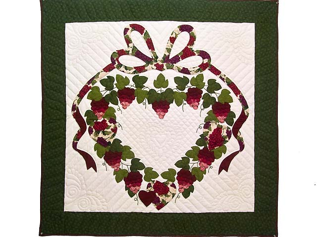 Burgundy Green and Cream Love in the Vineyard Wall Hanging Photo 1