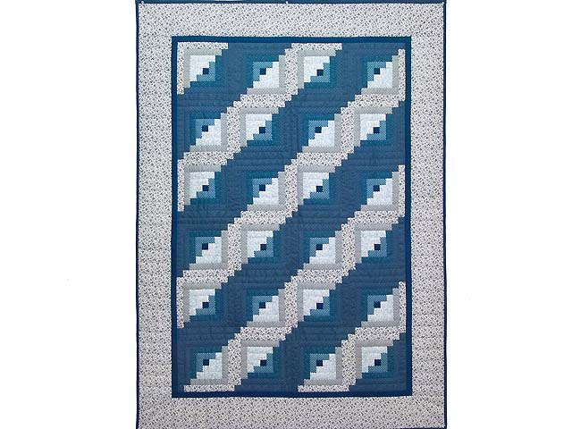 Blue and Navy Log Cabin Crib Quilt Photo 1