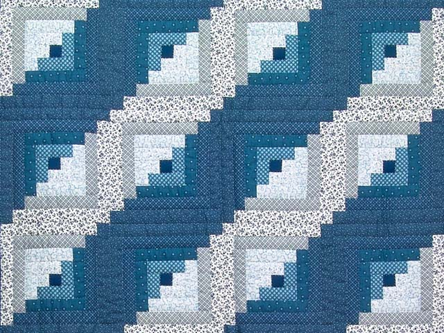 Blue and Navy Log Cabin Crib Quilt Photo 2