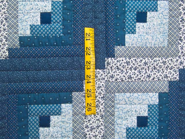 Blue and Navy Log Cabin Crib Quilt Photo 3