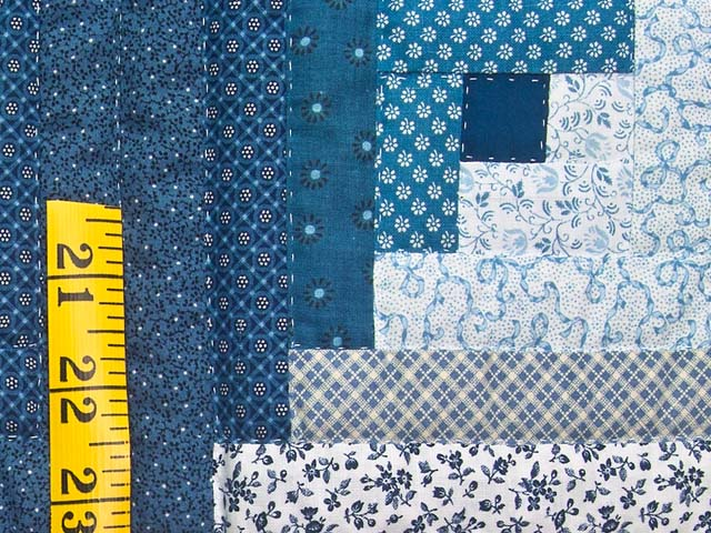 Blue and Navy Log Cabin Crib Quilt Photo 4