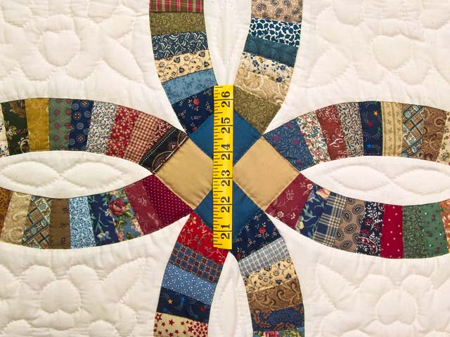 Fine Country Colors Double Wedding Ring Crib Quilt Photo 3