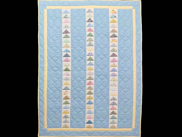 Pastel Blue and Yellow  Flying Geese Crib Quilt Photo 1