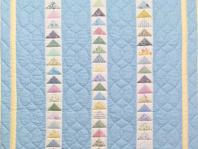 Pastel Blue and Yellow  Flying Geese Crib Quilt Photo 2