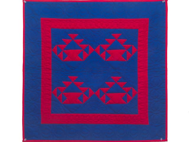 Miniature Indiana Amish Baskets in Red and Blue Wall Hanging Photo 1
