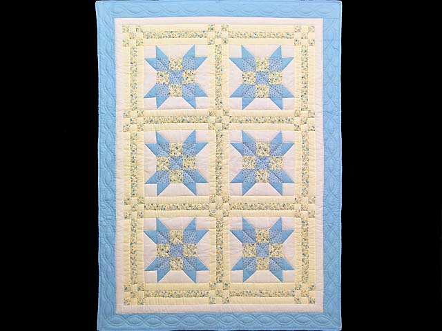Pastel Blue and Yellow Nine Patch Star Crib Quilt Photo 1