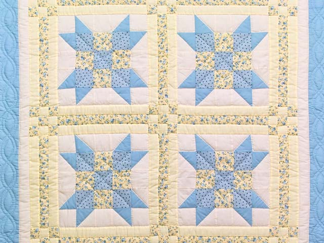 Pastel Blue and Yellow Nine Patch Star Crib Quilt Photo 2