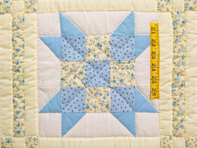 Pastel Blue and Yellow Nine Patch Star Crib Quilt Photo 3