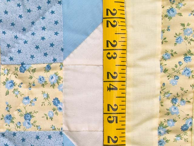Pastel Blue and Yellow Nine Patch Star Crib Quilt Photo 4