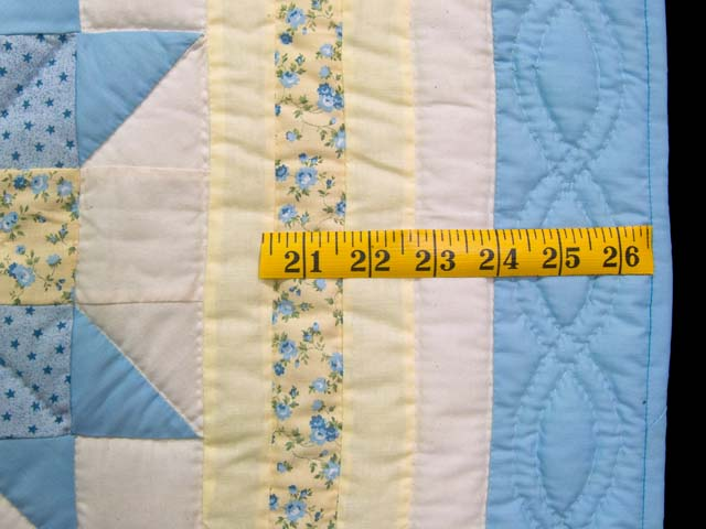 Pastel Blue and Yellow Nine Patch Star Crib Quilt Photo 5