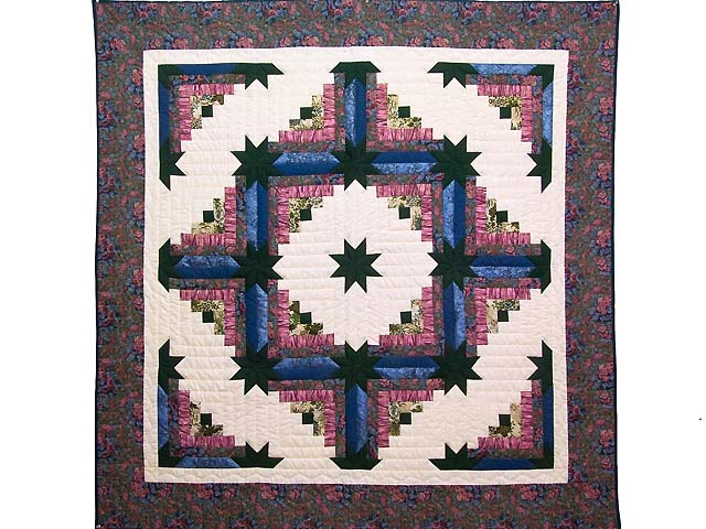 Rose Dark Green and Blue Colorado Log Cabin Throw Photo 1