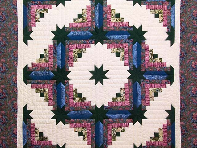 Rose Dark Green and Blue Colorado Log Cabin Throw Photo 2