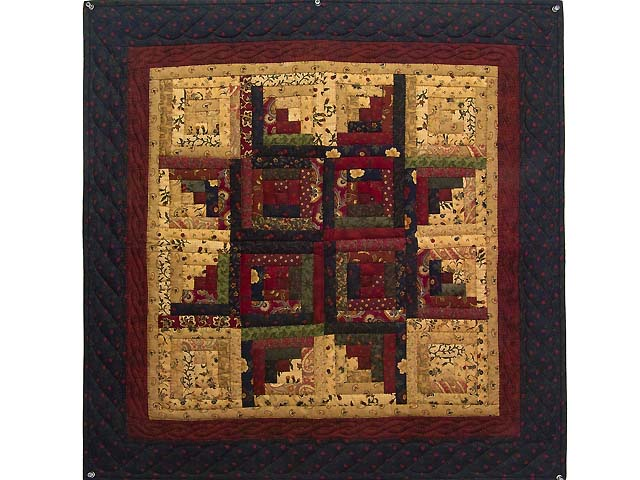 Navy Burgundy and Tan Log Cabin Star Wall Hanging Photo 1
