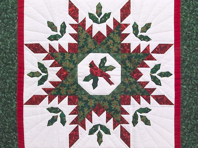 Christmas Cardinal Feathered Star Quilt -- great meticulously made ... : christmas quilt wall hanging - Adamdwight.com