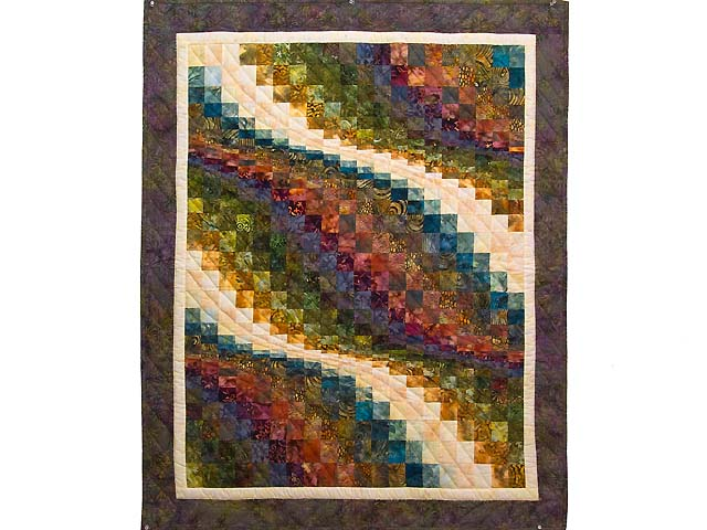 Mauve and Multi Hand Painted Bargello Wave Wall Hanging Photo 1