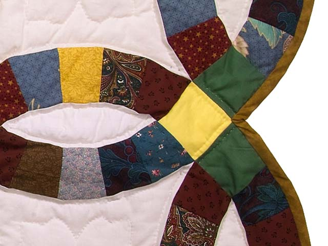 Green Yellow and Multi Double Wedding Ring Lap Throw Photo 5