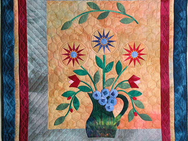 Hand Painted Floral Vase Wall Hanging Photo 2