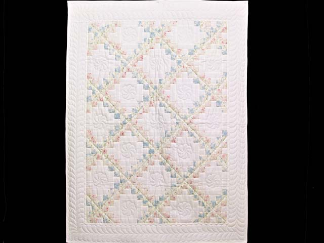 Pastel Pink and Blue Floral Irish Chain Crib Quilt Photo 1