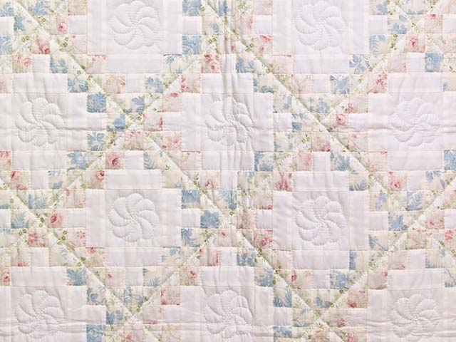 Pastel Pink and Blue Floral Irish Chain Crib Quilt Photo 2