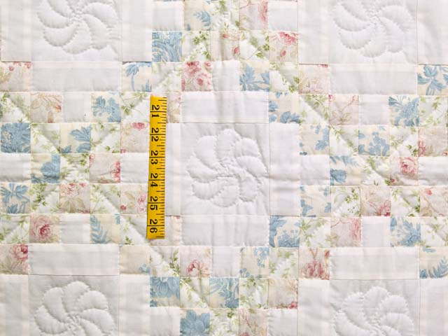 Pastel Pink and Blue Floral Irish Chain Crib Quilt Photo 3