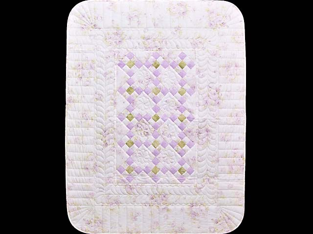 Lavender Green and Cream Floral Nine Patch Crib Quilt Photo 1