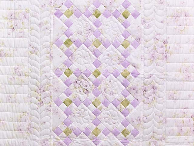 Lavender Green and Cream Floral Nine Patch Crib Quilt Photo 2