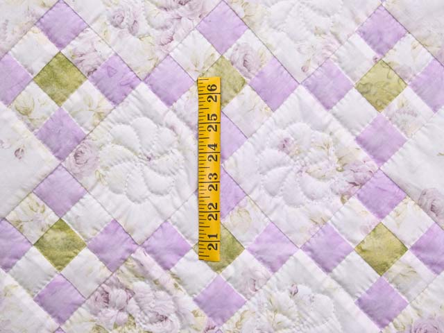Lavender Green and Cream Floral Nine Patch Crib Quilt Photo 3