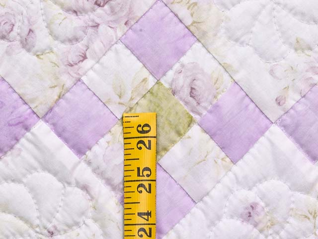 Lavender Green and Cream Floral Nine Patch Crib Quilt Photo 4
