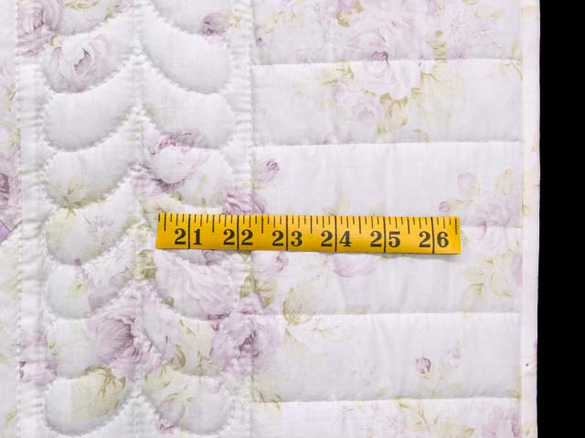 Lavender Green and Cream Floral Nine Patch Crib Quilt Photo 5