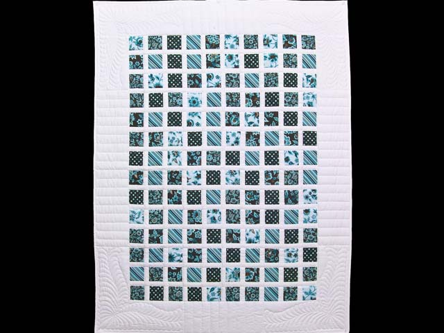 Blue and Dark Chocolate Delight Crib Quilt Photo 1