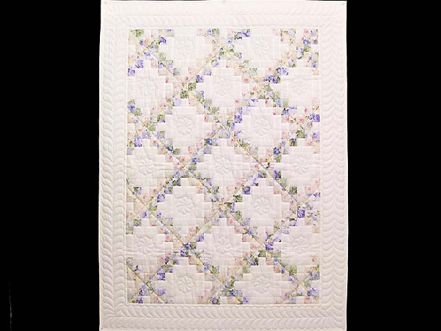 Rose Lavender and Green Floral Irish Chain Crib Quilt Photo 1